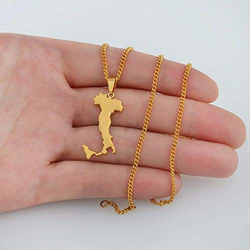 """XZZZBXL Map Necklace for Women,Italien Karte Anhänger Halsketten Mode Persönlichkeit Für Frauen Mädchen Gold Colour Chain Charme Karten Schmuck 50 cm (20\"""") Thin_Kette"""