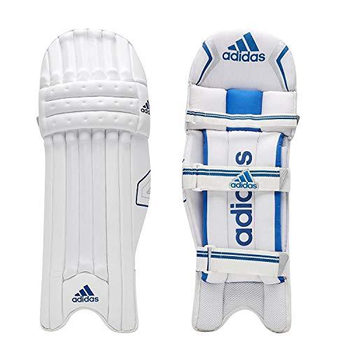 adidas Libro 4.0 Cricket-Schläger-Pads, Beinschutz, Weiß/Blau, für Linkshänder