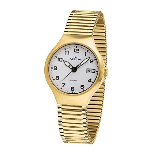 ATRIUM Damen-Armbanduhr Analog Quarz Edelstahl 5 bar Datum Leuchtzeiger Flexband A27-60