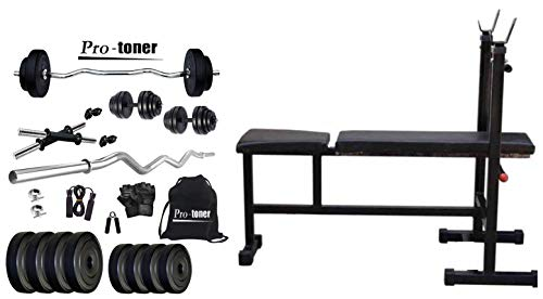 Protoner 20kg with 3 Rods PVC Weight Lifting Package and PR3IN1 Blend 3-in-1 Weight Bench Combo