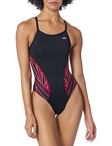 TYR SPORT Women's Phoenix Splice Diamondfit Swimsuit (Black/Burgundy, 32)