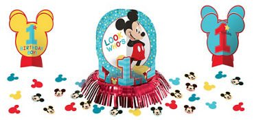 1st Birthday Mickey Mouse Table Decorating Kit 23 piece Party Supplies Mickey Fun to be One!