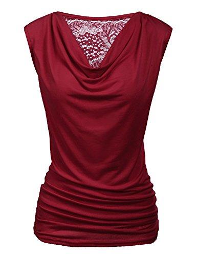 Pinspark Damen Sexy Oberteil Basic V-Ausschnitt Kurzarm T-Shirt Falten Caulse Tank Tops