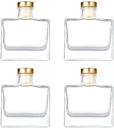 Unique Pick 100ml 3 4oz Square Diffuser Glass Bottle Clear Glass Jar with Gold Cork lid Set product image