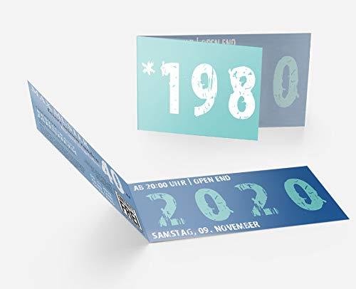 Runder Geburtstag Einladungskarten 40 Jahre Geburtstagseinladungen - Zeitsprung Einladung für runden Geburtstag 40er Feier Blau - Türkis (10)