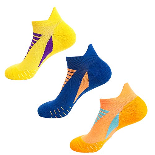 Mens Professional Running Socks Tennis, 3 Pairs Performance【Thick Terry Cushioned Sole】Anti-Blister Trainer Athletic Ankle Sports Socks for Men Running, Tennis, Basketball (Yellow+Orange+Blue)