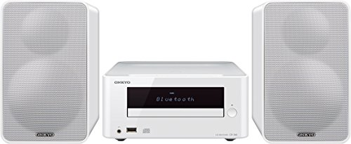 Onkyo CS-265(W) CD HiFi Minisystem (CD Player, MP3, Radio, 2 x 20 W Ausgangsleistung, Zweiwege Lautsprecher, Bluetooth, NFC, Musik streamen, USB/Audio in, iPhone kompatibel), Weiss