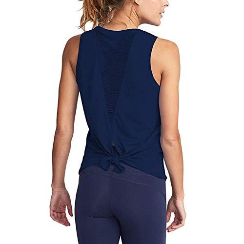 XITANG Chaleco Fitness Yoga Chaleco Fitness Mujer sin Mangas Camiseta Yoga Chaleco Fitness Abierto Anudado Retro (1 Unidad)