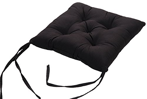 4 X 100% Cotton Outer Shell, 100% Polyester (FR) Filling Quilted Seat Pad Dinner Chair Cushion with Ties, 40 x 40 x 6cm - Black