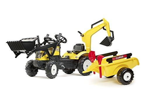Falk Spielzeug-Set, Traktor, Lader, Bagger, Anhänger, Schaufel und Rechen, verstellbar