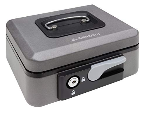 Arregui C9726 Caja de caudales de Acero Grafito con pulsador de Apertura. 200x90x115mm, 200 x 90 x 160 mm