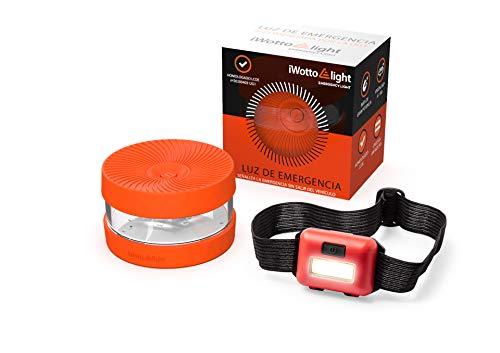 iWotto E light - Luz Emergencia Coche + Linterna luz Frontal - Señal V16 Luz Emergencia intensa, Accesorio de Coche Baliza Emergencia homologada y autorizada por DGT - Naranja