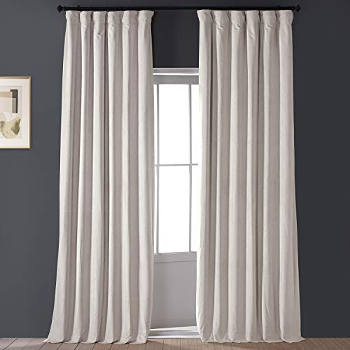 HPD Half Price Drapes VPCH-120601-84 Signature Blackout Velvet Curtain (1 Panel), 50 X 84, Alabaster Beige