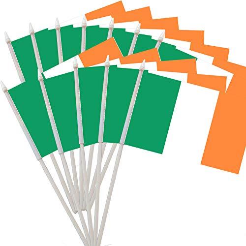 Ashley ZC Pack of 12 Ireland Stick Flag 5.5 x 8 inch, Irish National Small Mini Flags with White Soild Pole - Hibernian Handheld Flag (1 Dozen)