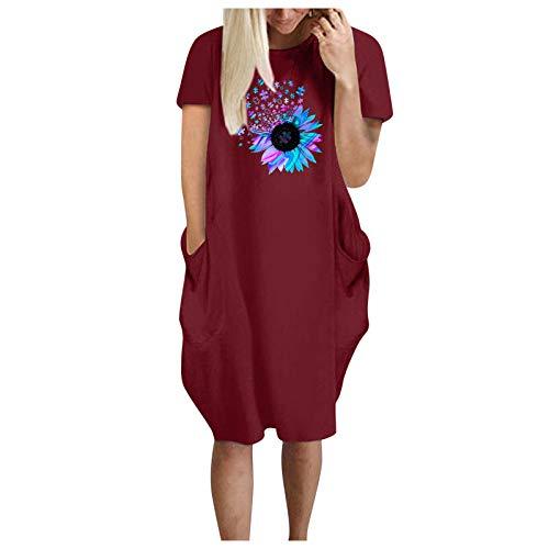 ZGMA Vestido de Camiseta Corto Mujer 2021 con Bolsillo Invisible Azul de Flores Manga Corta Cuello Redondo Casual Verano por la Rodilla Vestidos