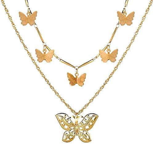 Aluyouqi Co.,ltd Collar con Cierre de múltiples Capas Colgantes con Retrato Collares para Mujer Collar de corazón con Llave de Metal Regalo de joyería
