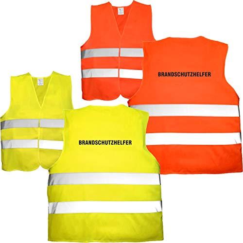 Nashville print factory 10 x Warnweste Bedruckt - Brandschutzhelfer - Sicherheitsweste EN ISO 20471 (Neon Gelb)