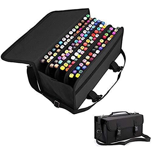 Layoutmarker Organisator Aufbewahrungstasche, Taschenorganisator mit 120 Steckplätzen, Abnehmbare Stiftetasche, Abnehmbarer Tragegurt, Reißverschlusstasche & Tragegriff