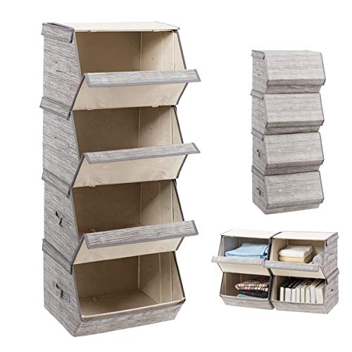DREAMADE 4er Set Aufbewahrungsboxen mit Deckel Aufbewahrungskiste Stoffboxen mit Metallrahmen und Magnetverschluss Aufbewahrungsw/ürfel aus Leinen Stapelbarer Aufbewahrungskorb