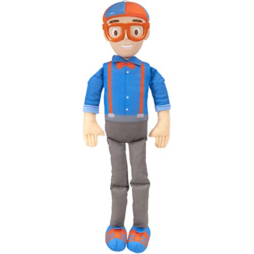 """Blippi Bendable Plush Doll  16"""" Tall Featuring SFX - Squeeze The Belly to Hear Classic catchphrases - Fun  Educational Toys for Babies  Toddlers  and Young Kids"""