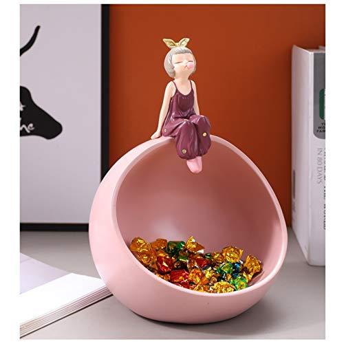 KHUY Candy Girl Organizador de Llaves, Bandeja Vaciabolsillos Multifuncional Bandeja Decorativa Centro De Mesa Decoración Teléfono Moneda Cambiar Tenedor Candy Vaciabolsillos (Color : Pink)