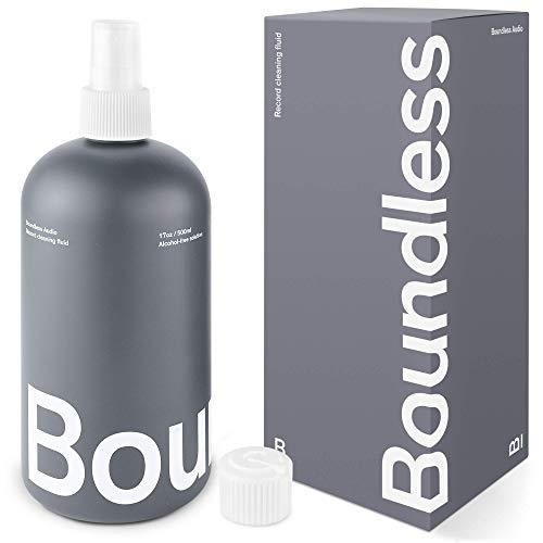 Boundless Audio Record Cleaner Solution - Extra Large 17oz Vinyl Record Cleaner Fluid Spray Bottle & Refill Nozzle