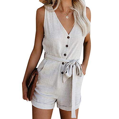 YFDYG Short Femme,White V-Neck Jumpsuit Summer Ladies Indoor Lace Up Tassel Pants Casual Beach Drawstring Top &Amp; Solid Color Trousers Girl Running Gym Shorts,S