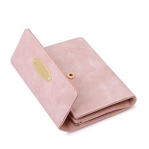 Portafoglio Donna Piccoli Portamonete Donna in Pelle Con Porta Carte Credito Pelle Sintetica Titolare Della Carta Organizzatore Ragazze Piccolo Portamonete (Pink)