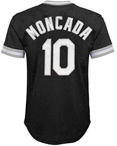 Yoan Moncada Chicago White Sox Black Youth Cooperstown V-Neck Mesh Jersey (Medium 10/12)