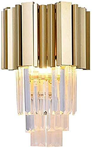 Lámpara industrial, Lámpara de pared del corredor de oro interior moderno creativo de cristal de cristal lámpara de pared E14 balcón escaleras hermosas y generosas 22 *  40cm [una energía] ,Decora