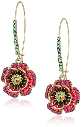 Betsey Johnson quotGarden of Excessquot Rose Long Drop Earring