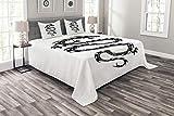 ABAKUHAUS Drachen Tagesdecke Set, Stammes-Mittelalter, Set mit Kissenbezügen Sommerdecke, für Doppelbetten 220 x 220 cm, Weiß Schwarz Grau