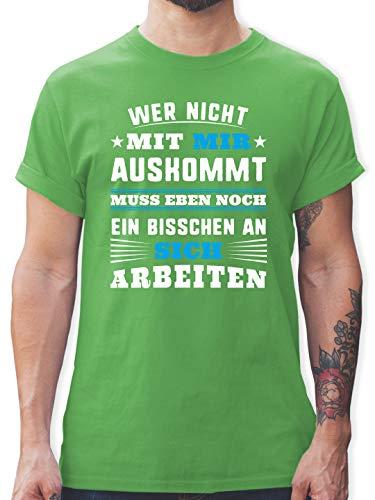 Sprüche - Wer mit Mir Nicht auskommt - blau - L - Grün - Tshirt wer mit Mir Nicht auskommt - L190 - Tshirt Herren und Männer T-Shirts