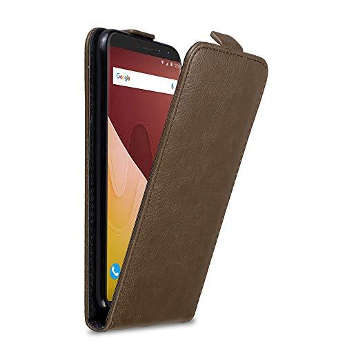 Cadorabo Hülle für WIKO View GO in Kaffee BRAUN - Handyhülle im Flip Design mit Magnetverschluss - Hülle Cover Schutzhülle Etui Tasche Book Klapp Style