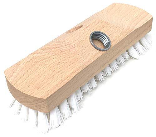 sellaviva Schrubber Holz mit Gewinde, 22cm - Harte Borsten mit Bart