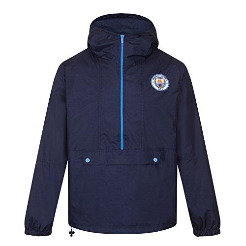 Manchester City FC - Chaqueta Cortavientos Oficial - para Hombre - Impermeable - Azul Marino Media Cremallera - L