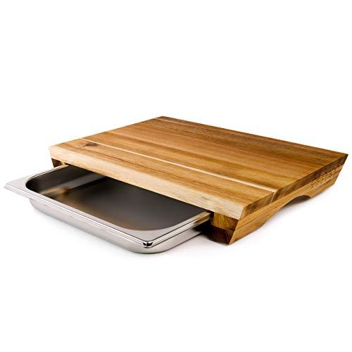 cleenbo Schneidbrett Style Acacia, Profi Holz Küchenbrett aus geölter Akazie, Schneidebrett aus Akazienholz mit verschiebbarer Gastronorm Edelstahl Auffangschale, Board Maße: 43 x 29 x 7 cm