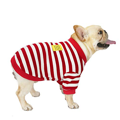 SMALLLEE_LUCKY_STORE French Bulldog Clothes for Dogs Boy Girl Striped Sweatshirt Crewneck Sweater Winter Warm Jacket Coat Pet Puppy Apparel,Red and White,XL