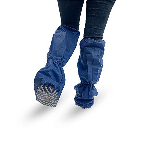 MediDent Supplies Disposable Knee High Boot Covers - Elastic Top - 18' Tall - Water/Skid Resistant Booties - Medical Boot Covers - Best Protection - Blue - One Size Fits All - Package of 50 (25 Pairs)