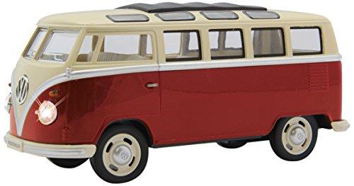 Jamara 405145 VW T1 Bus 1:24 Diecast rot LED Beleuchtung, detailgetreuer Innenraum, Sound, Motorgeräusch, Rückzugmotor, Seitentüren öffnen, Fahrzeugdetails im Chromdesign*