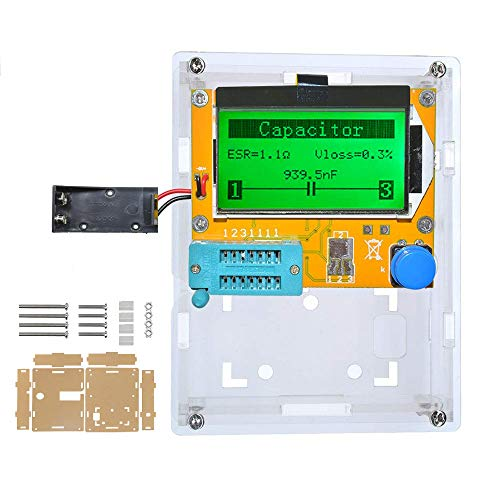 LCR-T4 Mega328 Component Tester Transistor Tester Diode Triode Capacitance LCR ESR Meter Module MOS PNP/NPN M328(Battery Case with Shell)
