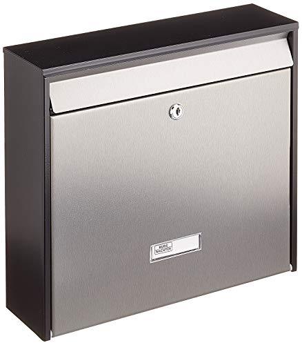 BURG-WÄCHTER, Edelstahl-Briefkasten, A4 Einwurf-Format, Verzinktes Stahlgehäuse mit Edelstahl-Tür, Edelstahl, Oxford 6877 B+S, grau/ Mattschwarz