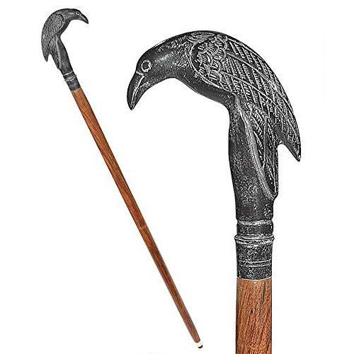 Design Toscano Edgar Allen Poe's Mystic Raven Gothic Walking Stick Swagger Cane, 37 Inch, Black