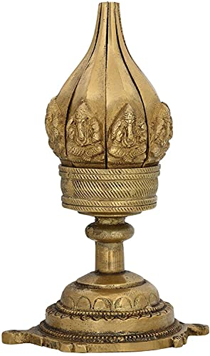 Aarti Diya - Mecha de aceite (latón, diseño de flor de loto, decoración para el hogar, regalos indios, altura: 6 pulgadas, ancho: 0,592 kg)
