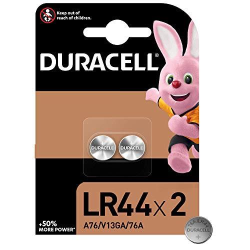 Duracell LR44 - Batteria Bottone Alcalino 1.5V, Specialistica Elettronica, 76A/A76/V13GA Progettate per l'Uso in Giocattoli, Calcolatrici e Dispositivi di Misurazione, Confezione da 2
