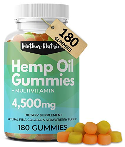 Hemp Gummies for Pain and Anxiety. 180 Hemp Gummy Bears with 51 Milligrams of Hemp Oil per Serving, 4,500 Milligrams Total. Plus Multi-Vitamins for Overall Health. No THC Gummies