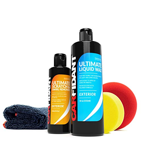 Carfidant Car Paint Restoration Kit - Scratch and Swirl Remover + Liquid Wax Sealant Kit - Car Wax and Polish with Microfiber Towel and Applicator