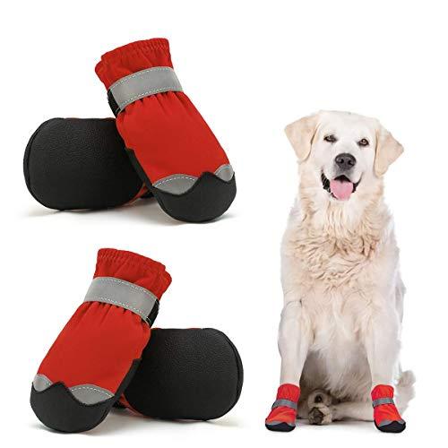 Dociote wasserdichte Hundeschuhe pfotenschutz mit Anti-Rutsch Sohle, reflektierendem Riemen, Klettverschluss Schneeschuhe für mittelgroße große Hunde 4 Stück Rot 5#