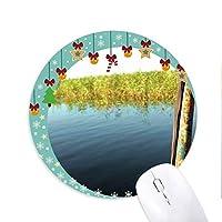 遠くのボート 圆形防滑橡胶圣诞铃铛鼠标垫