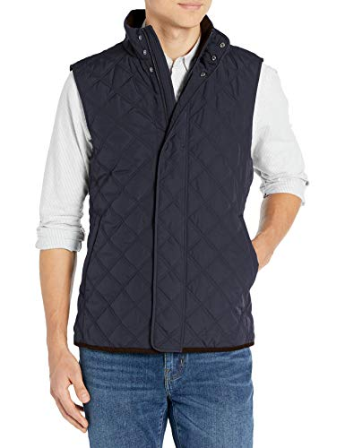 Amazon Brand - Buttoned Down Men's Water Repellant Quilted Vest, Navy M
